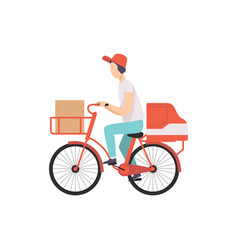 male courier riding bicycle with cardboard boxes vector image