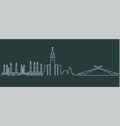 Mecca single line skyline vector