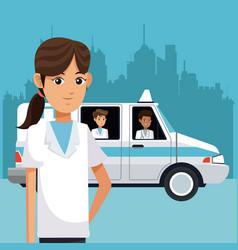 medical emergency at city vector image