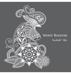 Mehendi white rooster mehendi vector