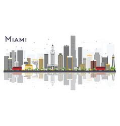 miami usa city skyline with gray buildings vector image