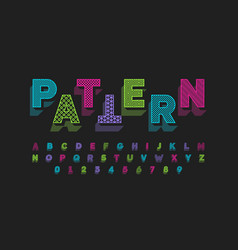 modern font design with different patterns inside vector image