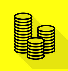 money sign black icon with flat vector image