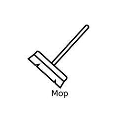 Mop simple line icon floor cleaning thin linear vector