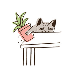 Nasty cat throwing potted plant off table amusing vector