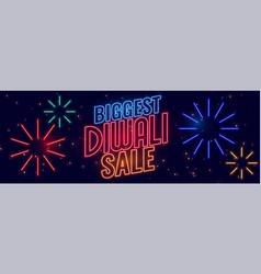 neon style happy diwali sale banner design vector image