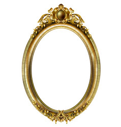 Oval classic golden picture baroque frame vector