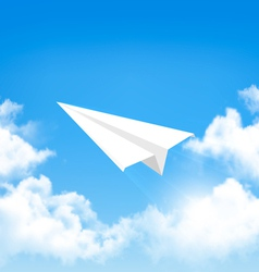 paper airplane in sky with clouds vector image