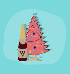 paper sticker on stylish background christmas vector image