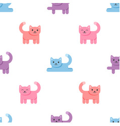 pattern with colorful cats on white background vector image