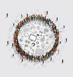People in a circle with a lot of icons vector