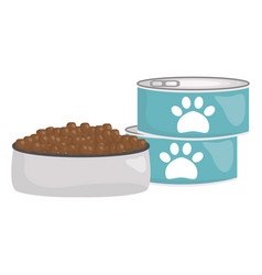 pet food cans with dish vector image