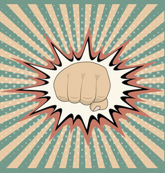 pop art cartoon fist comic book crash vector image