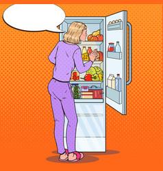 Pop art woman choosing food from the fridge vector