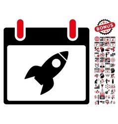 Rocket Calendar Day Flat Icon With Bonus vector