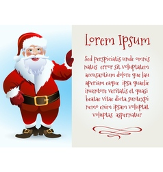Santa Claus Cartoon Character with Text Sample on vector image