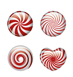 set candies spiral red graphic isolated vector image