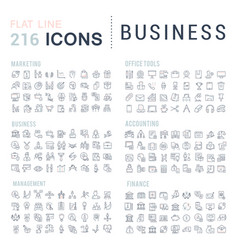 Set line icons business vector