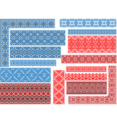 Set of 15 seamless ethnic patterns for embroidery vector