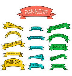 set of banner ribbons in flat style vector image