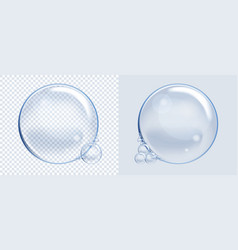 Set of soap water bubbles transparent isolated vector