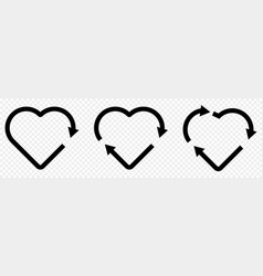 set recycle heart symbol vector image