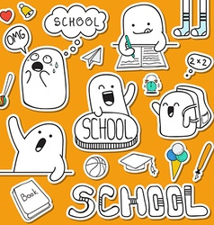 Set sticker doodle characters and school supplies vector