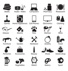 Shop department simple symbols set eps10 vector