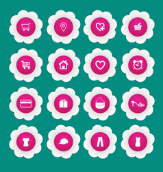 Shopping icon with white paper flower vector