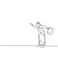 Single continuous line drawing young angry arab vector