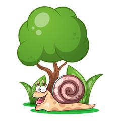 snail animals tree grass cartoon characters vector image