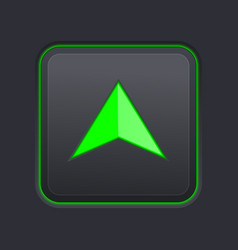 Square up button with green arrow on black vector