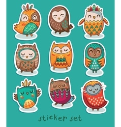 Sticker set of owls vector