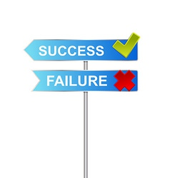 Success unsuccess road sign indicator vector