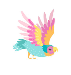 tropical parrot bird with iridescent plumage vector image