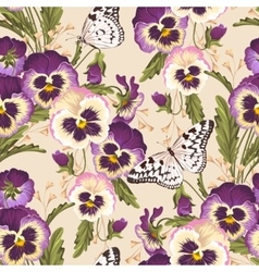 Vintage pansy seamless vector