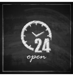 Vintage with open 24 hours a day sign on vector