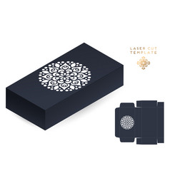 Wedding card laser cut template box vector