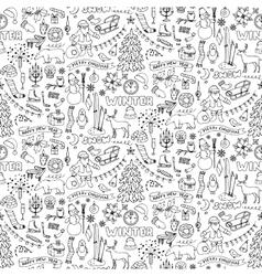 Winter hand drawn seamless pattern vector