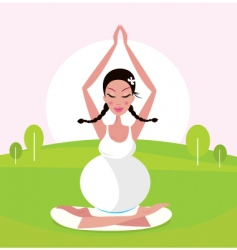 woman making Yoga in park vector image vector image