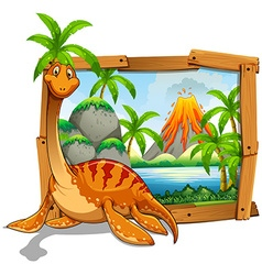 Wooden frame with dinosaur at the lake vector
