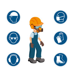 worker with his personal protective equipment vector image