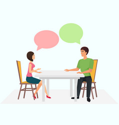 young man and woman are sitting at the table and vector image
