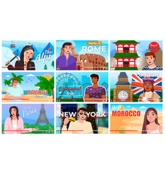 young people man and woman travel bloggers set of vector image