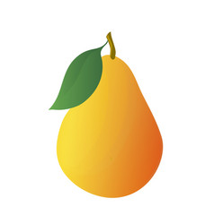 cartoon yellow pear with leaf vector image