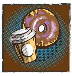 Coffee and donut pop art comics retro style vector