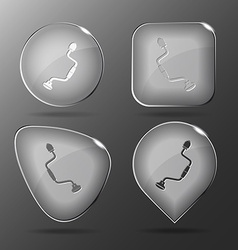 Hand drill Glass buttons vector image