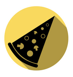 pizza simple sign flat black icon with vector image