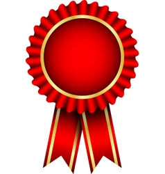 red badge with ribbon vector image vector image