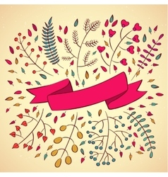 set of branches and ribbons in modern style vector image